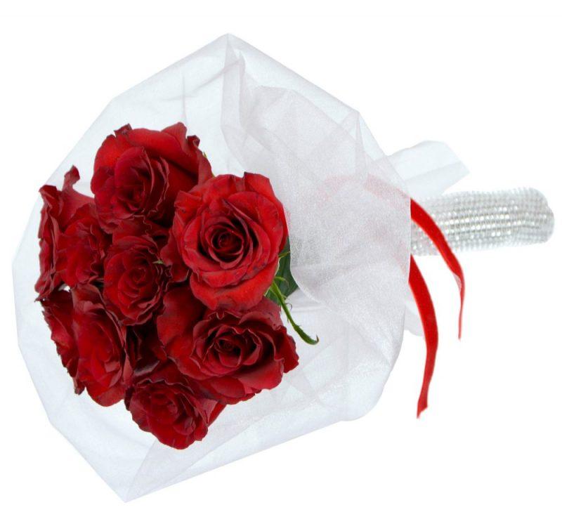 булчински букет с червени рози