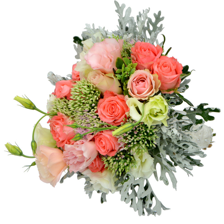 булчински букет в корал и сиво от рози,