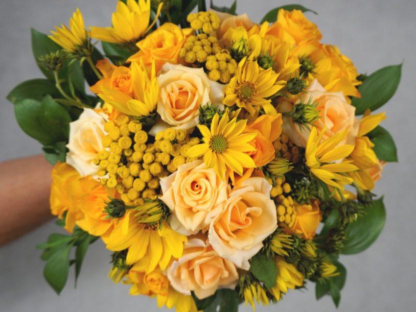 букет за булка с жълти рози